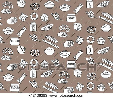 bakery seamless pattern line outline doodle style bread and buns texture flour products endless background pastry backdrop vector illustration clipart k42136253 fotosearch fotosearch
