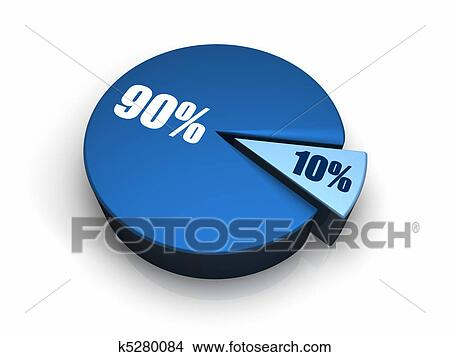 Drawings Of Blue Pie Chart 10 90 Percent K5280084 Search Clip