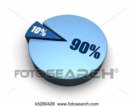 Stock Illustration Of Blue Pie Chart 90 10 Percent K5280428