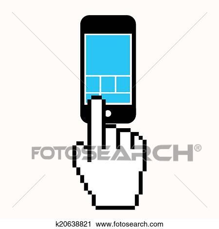 Cliqueter Les Ecran Telephone Portable Clipart K20638821 Fotosearch