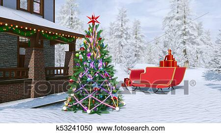 House With Christmas Lights Clipart.Country House Decorated For Christmas Clipart