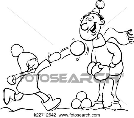 Dad And Son On Winter Coloring Page Clipart
