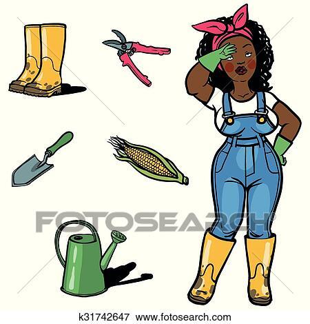 Funny Cartton Gardener And Gardens Tools Clip Art K31742647 Fotosearch