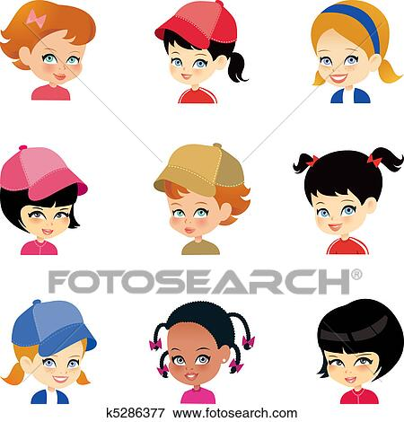 clip art of little girl cartoon faces set k5286377 search clipart