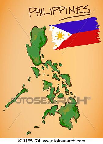 Clipart Of Philippines Map And National Flag Vector K29165174