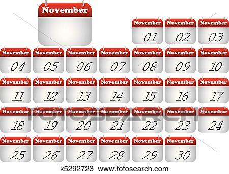 11 月 アイコン カレンダー クリップアート切り張りイラスト絵画