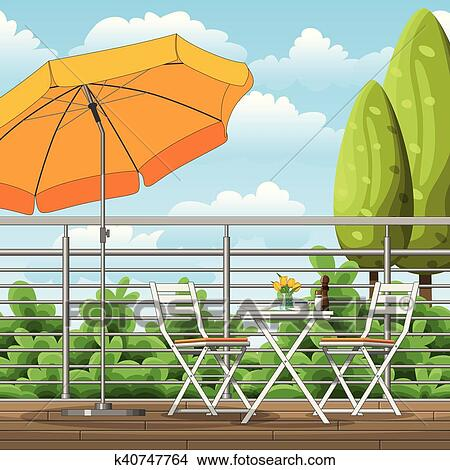 Clipart Abbildung Von A Balkon A Terrasse Mit Tische Stuhle