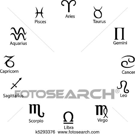 Astrology symbols, full vector, great for artworks or Tattoo Clip Art