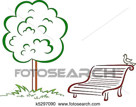 Clipart Of Bird Park Bench Green Tree K5297090 Search