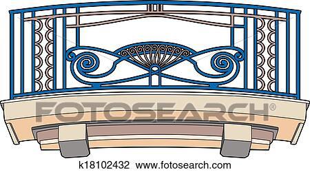Clipart Blau Balkon K18102432 Suche Clip Art Illustration