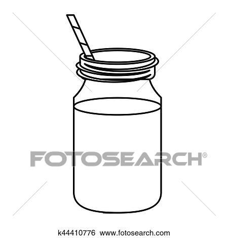 Coffee glass jar straw thin line Clip Art | k44410776 ...