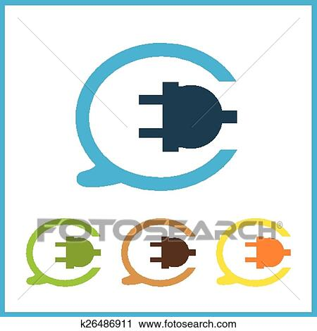 Clipart - draht, steckdose, und, elektrischer stecker, vektor ...