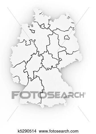 Dreidimensional Landkarte Von Germany 3d Stock Illustration