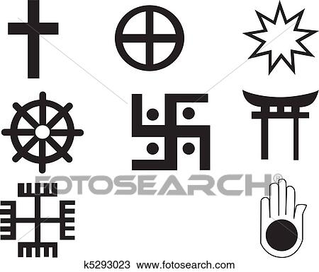 Clipart Of Five Different Native American And African Symbol