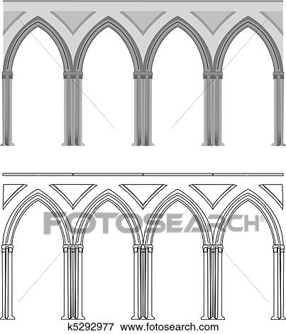A Vectorized Gothic Style Column In Lines Or Colored