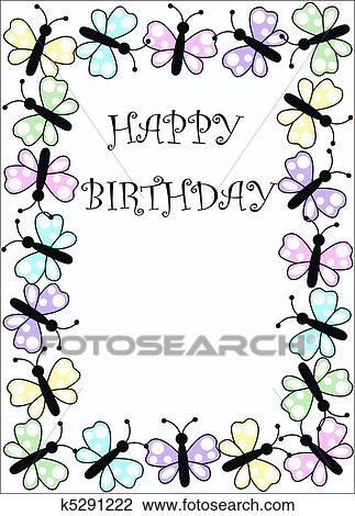 Fine Happy Birthday Card Drawing K5291222 Fotosearch Personalised Birthday Cards Bromeletsinfo