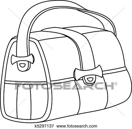 Clip Art Of Leather Bag Contours K5297137