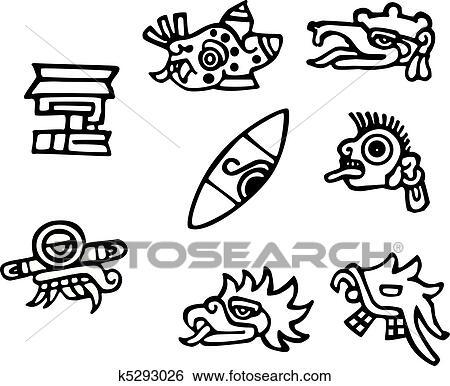 Calendrier Maya Signe.Maya Symboles Grand Typon Pour Tatouages Clipart