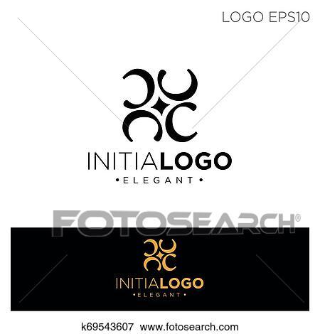 Monogram Initial C Cc C Logo Template Black Color Vector Illustration Clip Art K69543607 Fotosearch