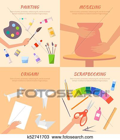 Clipart Of Painting Modeling Origami Scrapbooking Posters Set
