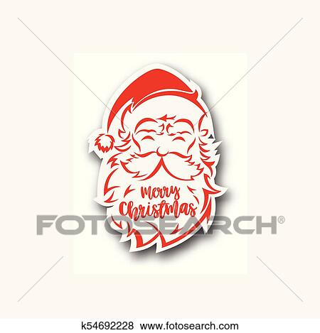 53851e5ff5e3a Clip Art - Santa Claus hat and beard logo vector illustration.. Fotosearch