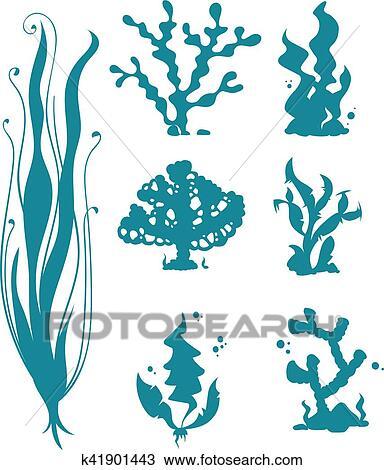 Clipart Subacqueo Mare Coralli E Alghe Vettore Silhouette
