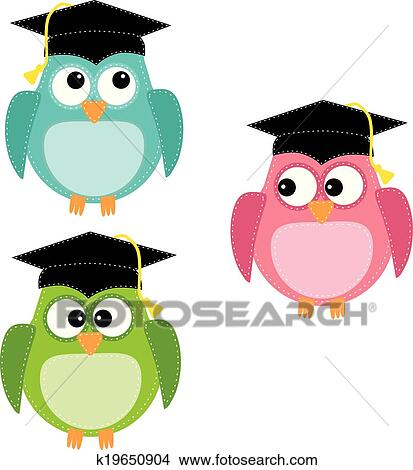 clipart of three owls with graduation caps k19650904 search clip rh fotosearch com