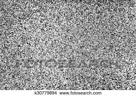 Tv screen with static noise, bad signal reception Stock Illustration