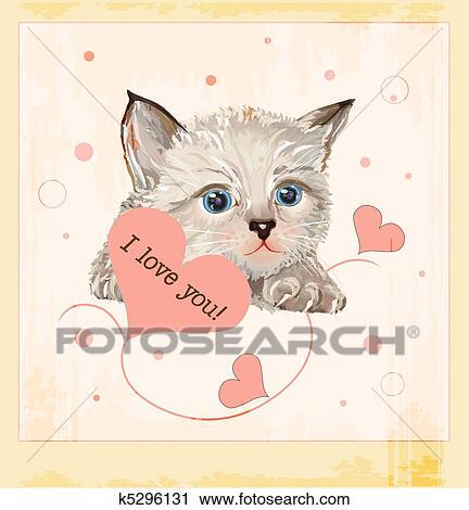 Clipart Of Valentines Day Greeting Card With Kitten And Hearts