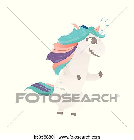 Vettore Cartone Animato Unicorno Carattere Isolato Clipart