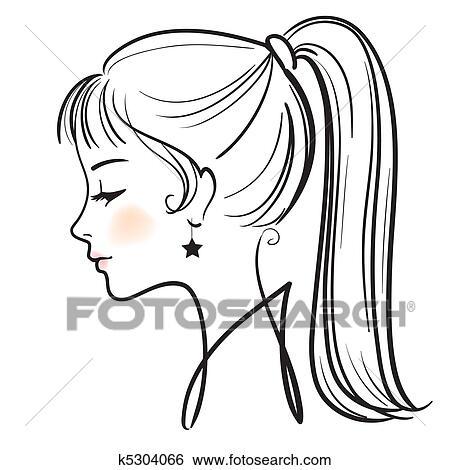 美しい女性 顔 ベクトル イラスト イラスト K5304066 Fotosearch