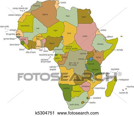 Afrika Karta Guinea.Afrika Karta Clipart K5304751 Fotosearch