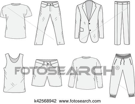 clipart of clothing set sketch men s clothes hand drawing style