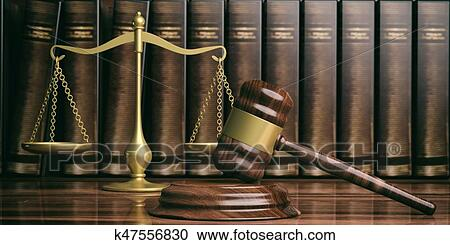 stock illustrations of justice scale gavel and law books 3d