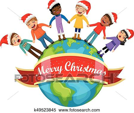 clipart of multicultural kids xmas hat singing christmas carol hand rh fotosearch com multicultural family clipart multicultural hands clipart