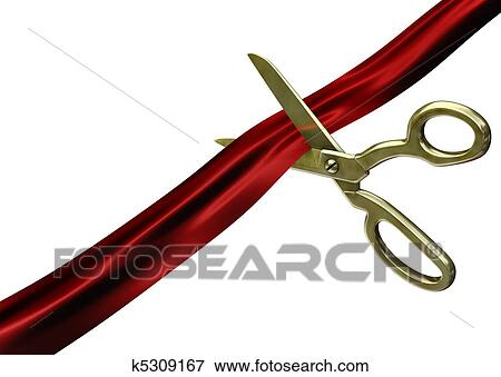 picture of scissors cutting red ribbon k5309167 search stock