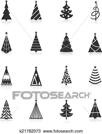 Christmas Tree Icons Black Clipart