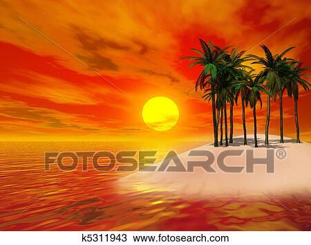 Coloridos Paisagem Tropical Desenho K5311943 Fotosearch