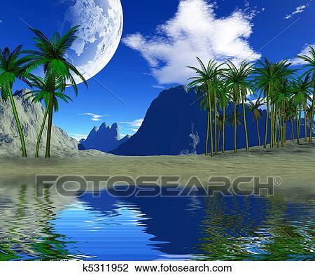Coloridos Paisagem Tropical Desenho K5311952 Fotosearch