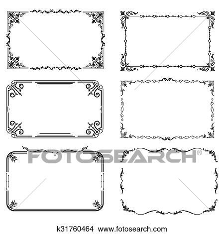Clipart - conjunto, de, vendimia, marcos k31760464 - Buscar Clip Art ...