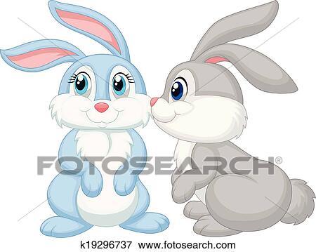 Clip Art Of Cute Rabbit Cartoon Kissing K19296737 Search Clipart