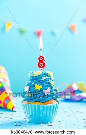 Fine Eighth 8Th Birthday Cupcake With Candle Card Mockup Stock Image Personalised Birthday Cards Veneteletsinfo