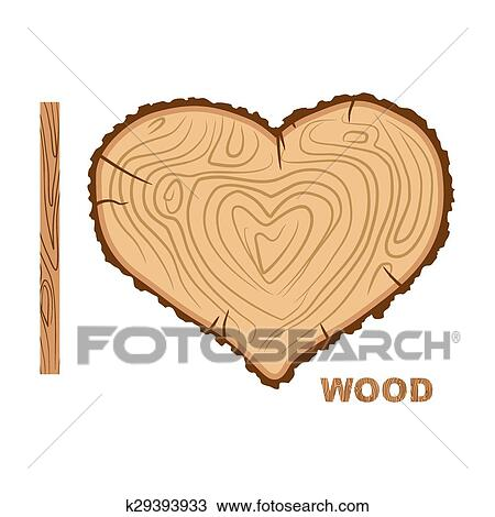 Clipart Of I Love Wood Cutting Tree As A Symbol Of Heart Vector