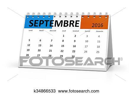 Calendario Dibujo Septiembre.Idioma Frances Tabla Calendario 2016 Septiembre Dibujo