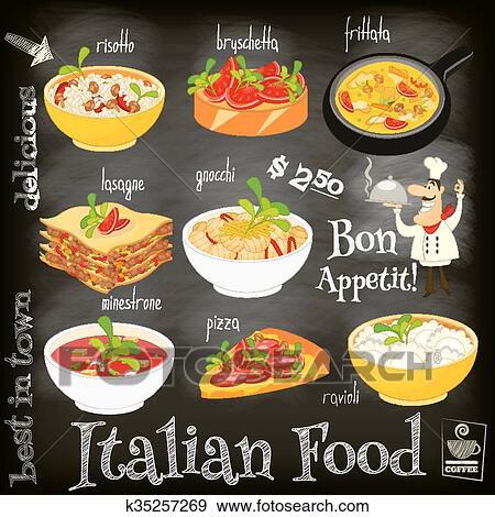 Clip Art Of Italian Food Menu K35257269