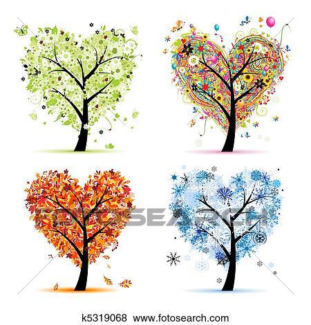 clipart quatre saisons printemps t automne winter art arbre forme coeur pour. Black Bedroom Furniture Sets. Home Design Ideas
