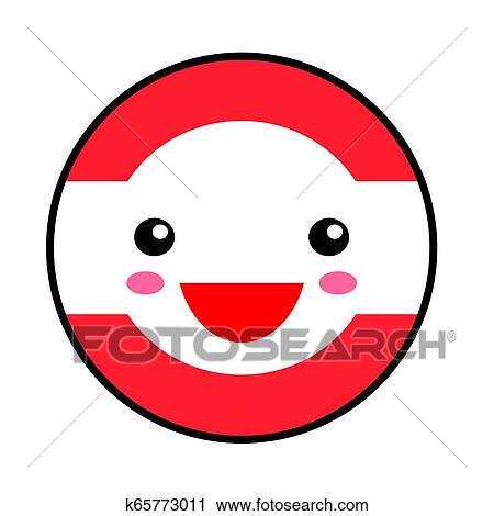 Kawaii Austria Flag Smile Flat Style Cute Cartoon Isolated Fun Design Emoticon Face Vector Art Anime Illustration For Celebration Holiday