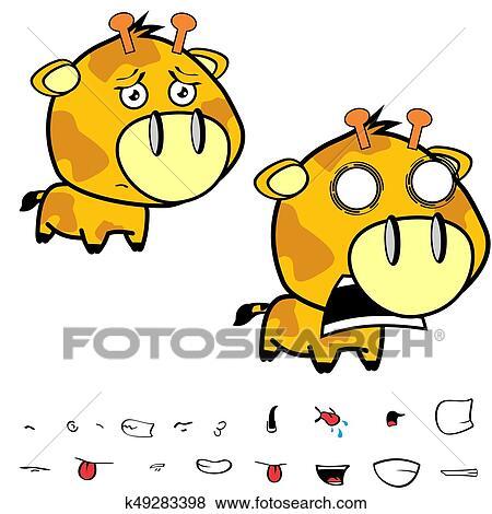 Rigolote Peu Grande Tête Girafe Expressions Set8 Clipart