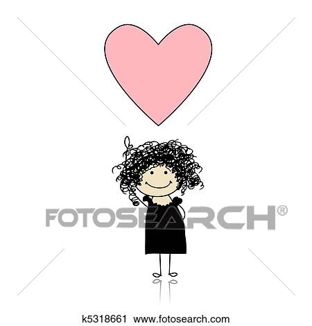 Clipart Of Saint Valentine Day Cute Girl Holding Heart K5318661