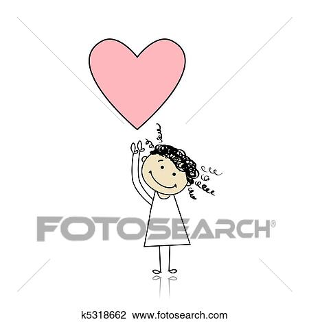 Clipart Of Saint Valentine Day Cute Girl Holding Heart K5318662